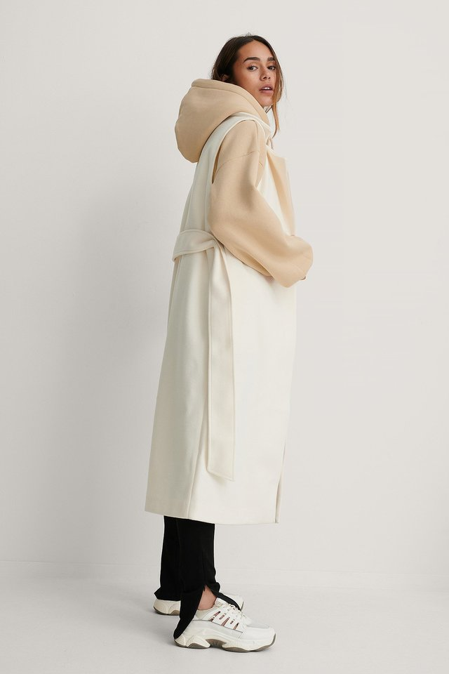 Cream Belted Long Vest