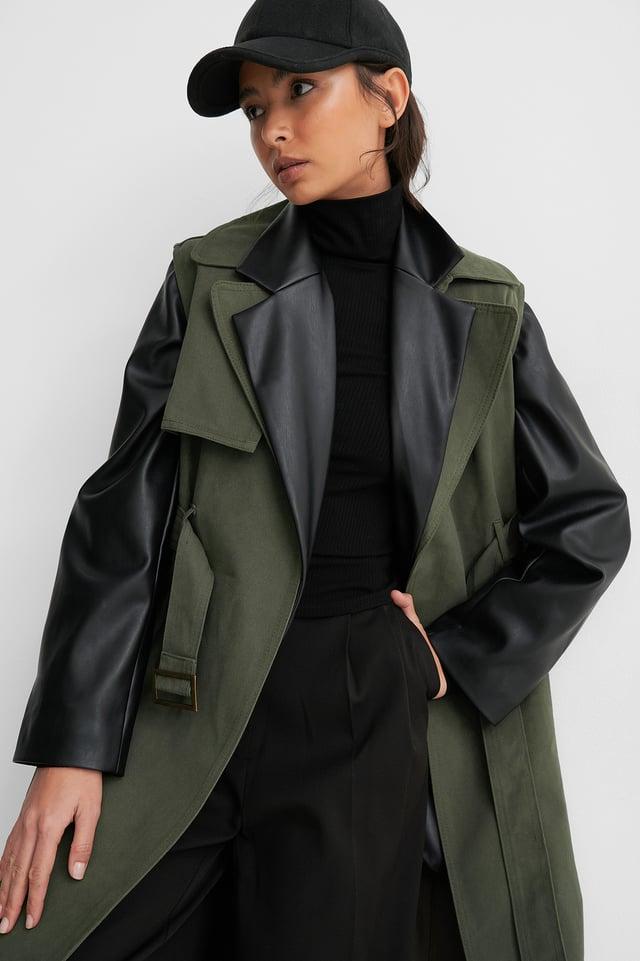 Green Belted Long Vest