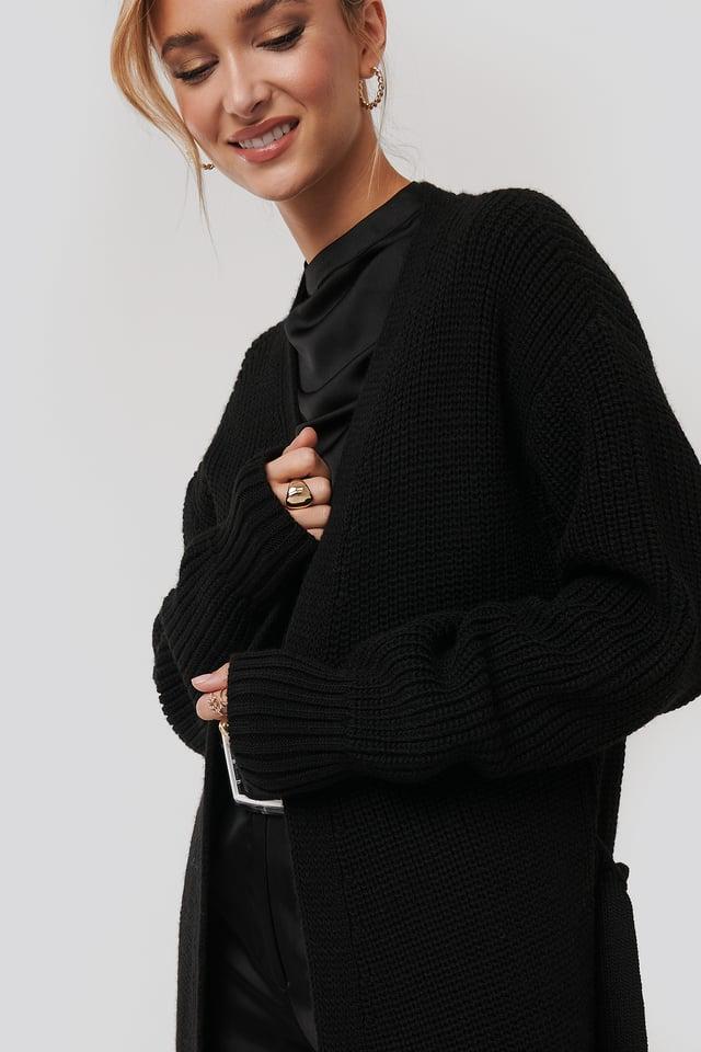 Belted Maxi Cardigan Black