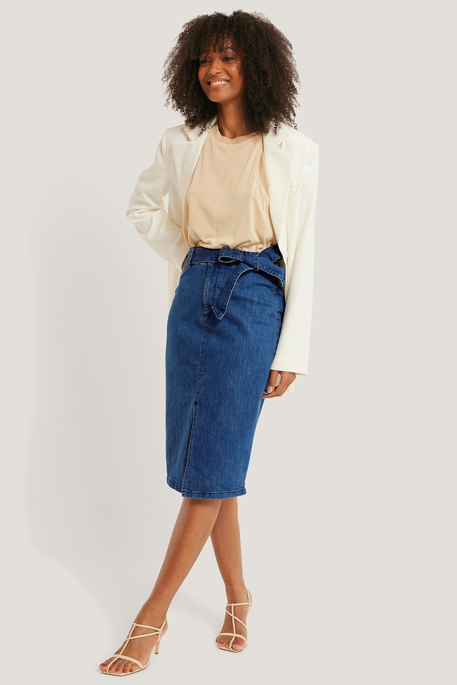 Light Blue Belted Midi Denim Skirt