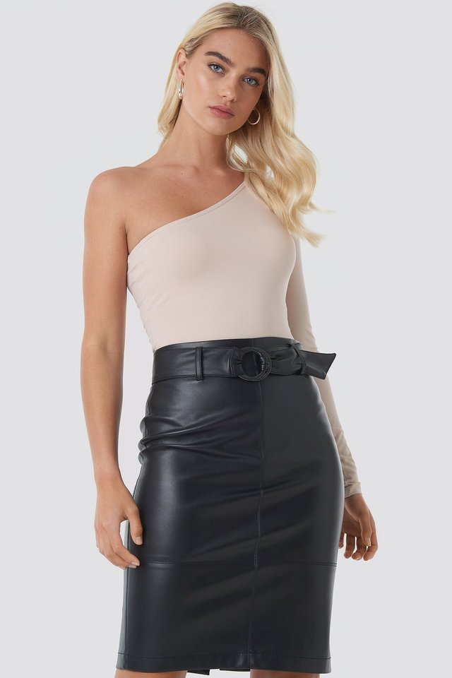 Belted Midi Skirt Black