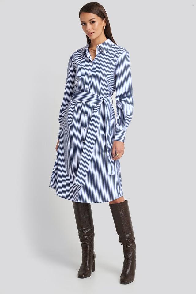 Blue/White Belted Midi Shirt Dress