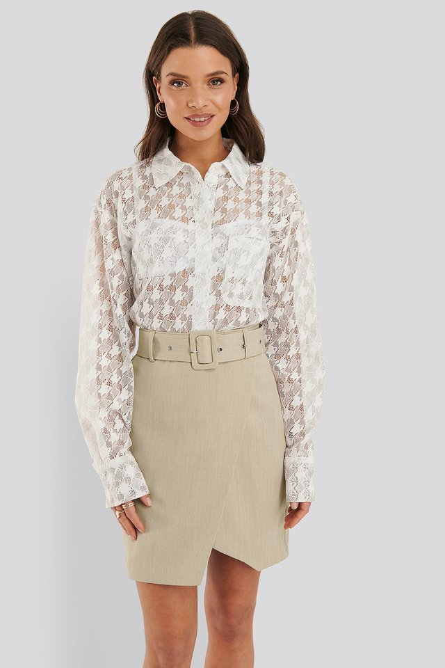 Belted Overlap Mini Skirt Beige