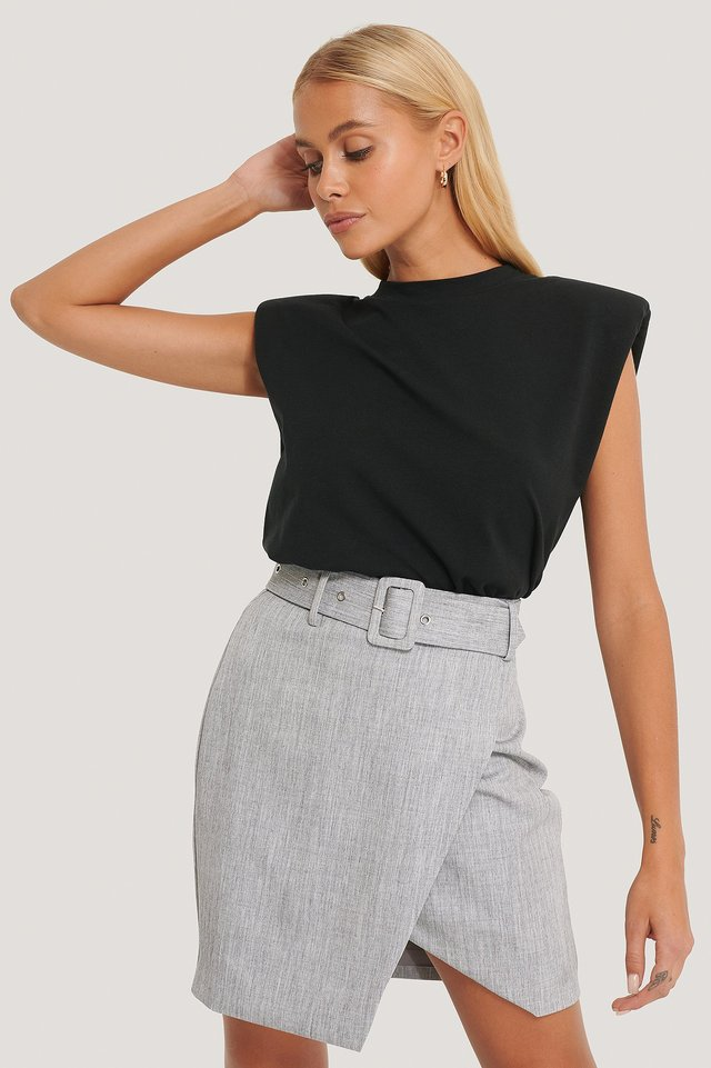 Grey Belted Overlap Mini Skirt