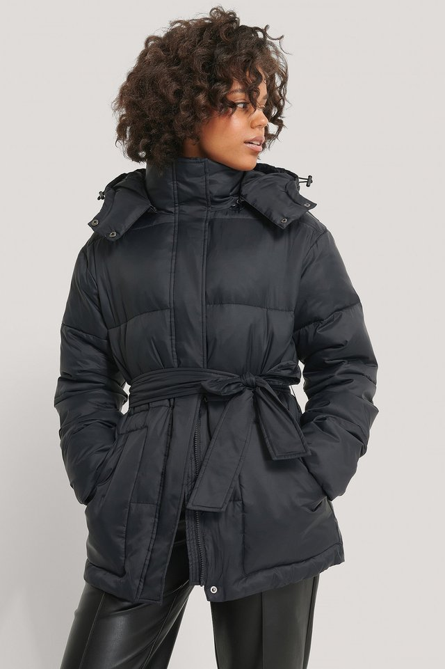 Belted Padded Jacket Black