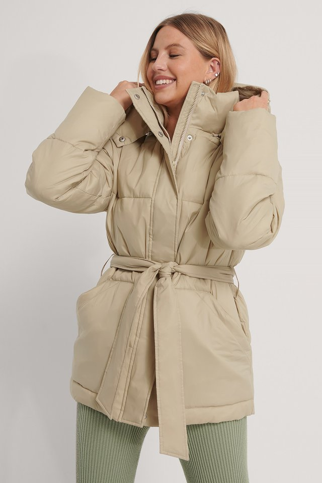 Belted Padded Jacket Light Beige