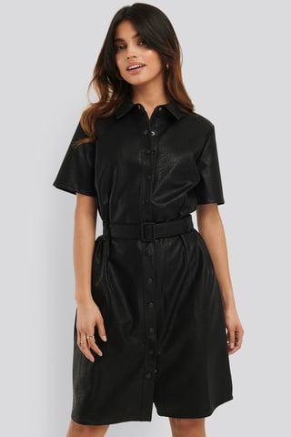 Black Belted PU Dress