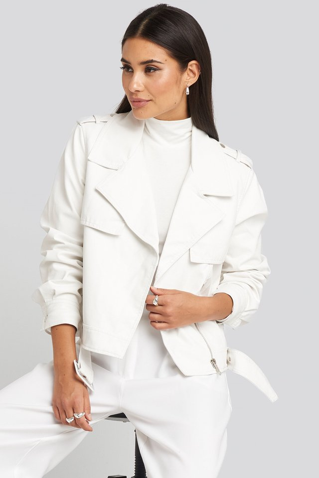 Belted PU Jacket White