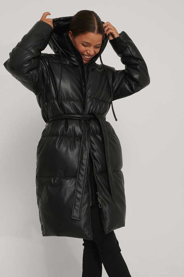 Belted PU Padded Jacket Black