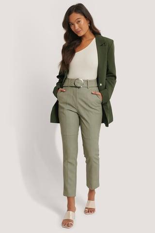 Khaki Belted PU Pants