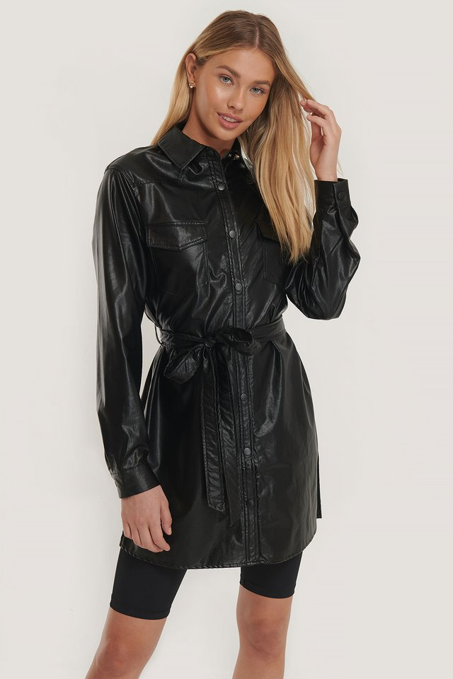 Black Belted Pu Shirt Dress