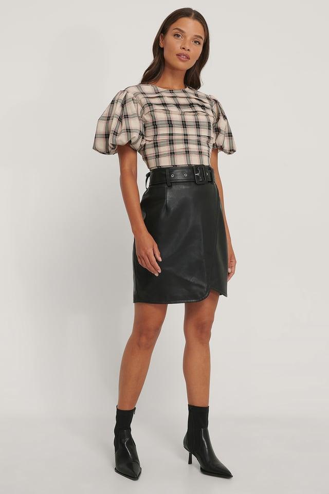 Black Pu-Nederdel Med Bælte
