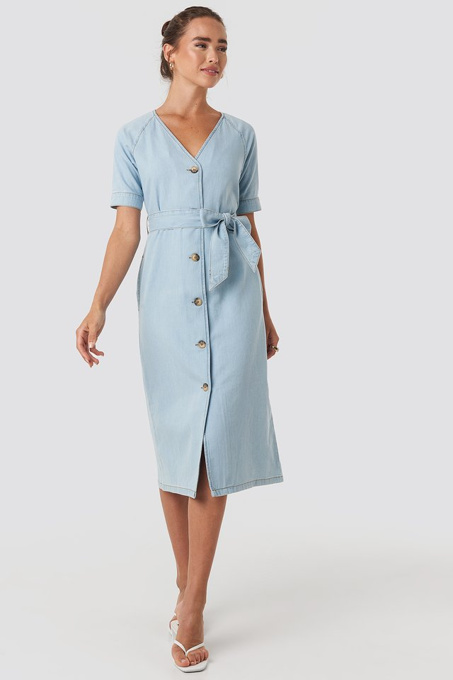 Belted Puff Sleeve Midi Dress Light Blue
