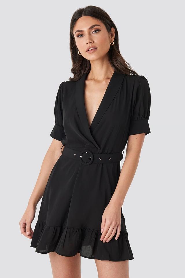 Belted Puff Sleeve Mini Dress Black