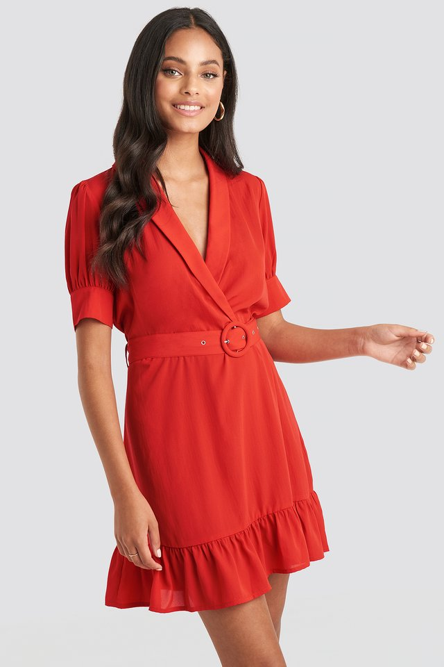 Belted Puff Sleeve Mini Dress Red