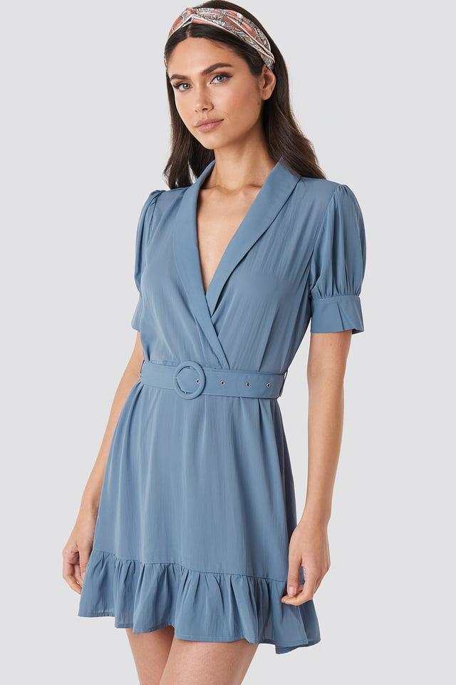 Belted Puff Sleeve Mini Dress Dusty Blue