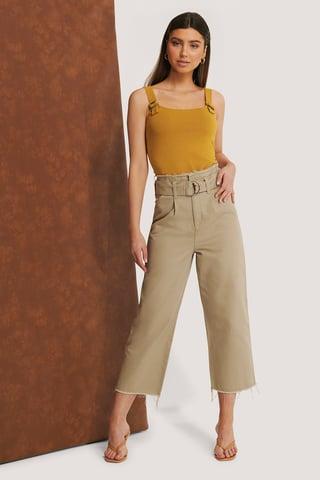 Beige Organisch Jeans Met Ruwe Zoom En Riem