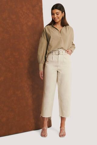 Light Beige Organisch Jeans Met Ruwe Zoom En Riem