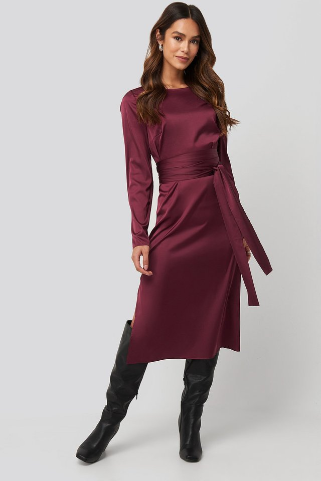 Belted Satin Midi Dress Burgundy