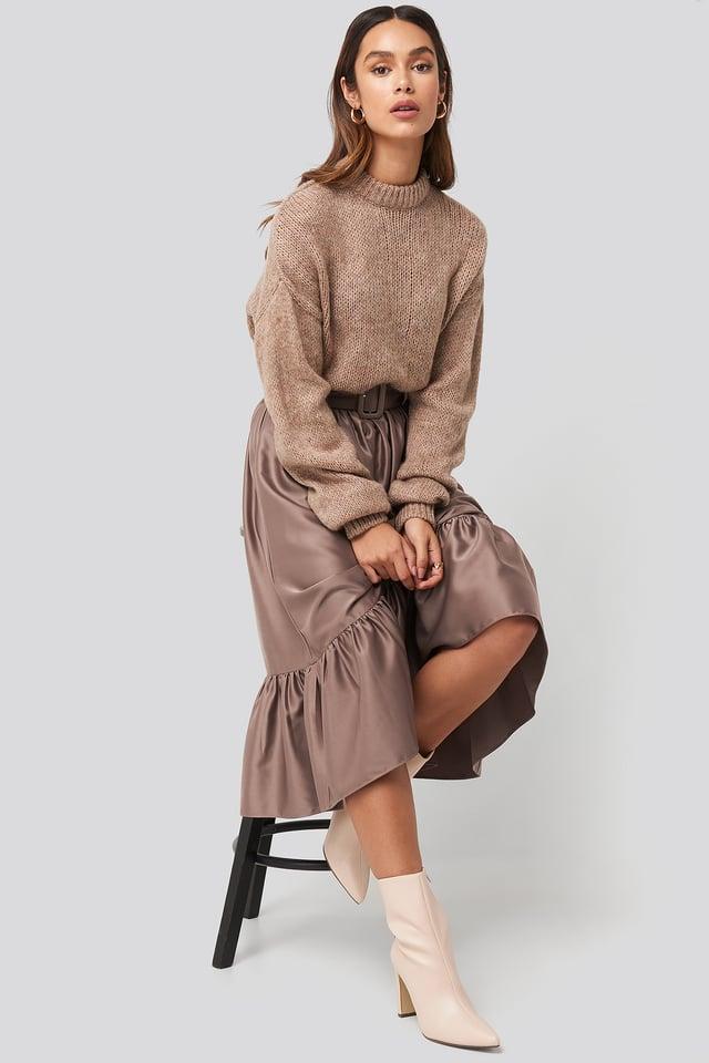 Belted Satin Skirt Dusty Plum