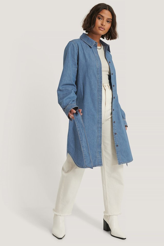 Mid Blue Organic Belted Shirt Denim Dress