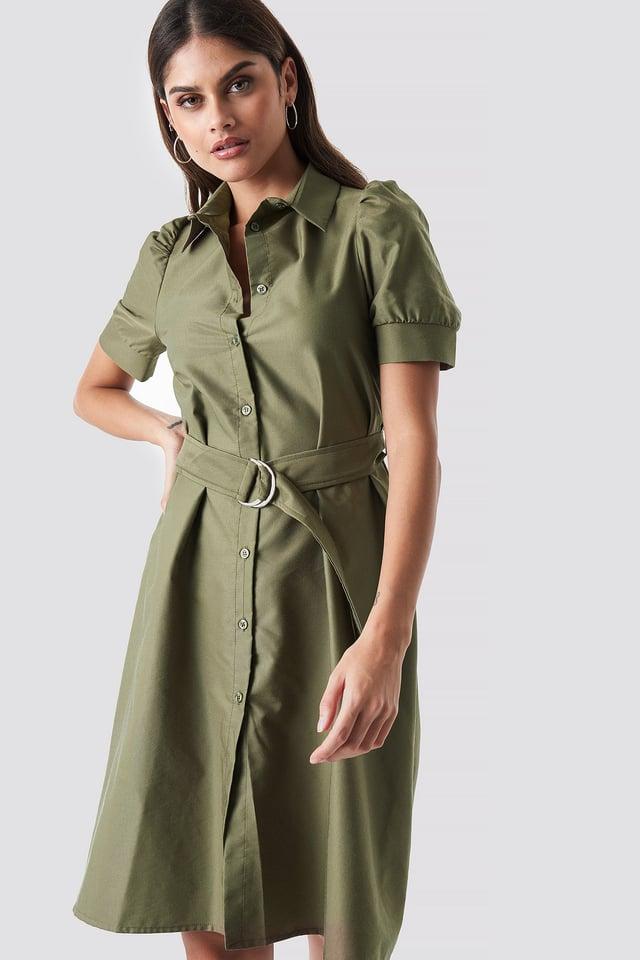 Belted Shirt Dress Khaki Green