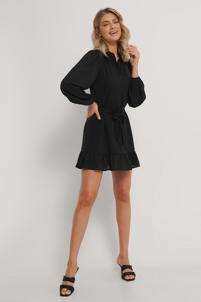 Belted Shirt Ruffled Bottom Mini Dress Black