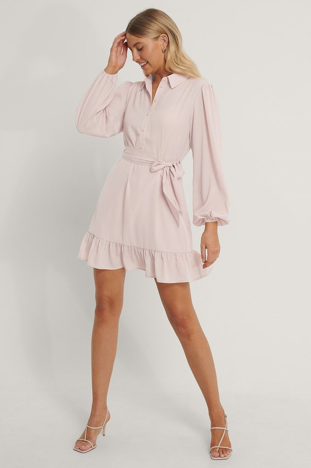 Belted Shirt Ruffled Bottom Mini Dress Dark Dusty Pink