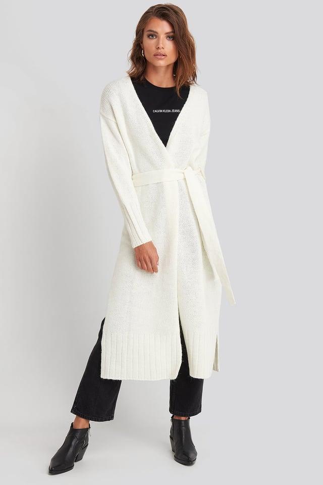 Belted Side Slits Long Cardigan Offwhite