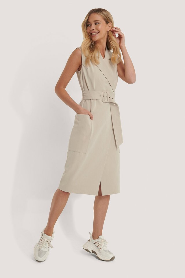 Belted Sleeveless Blazer Dress Sand