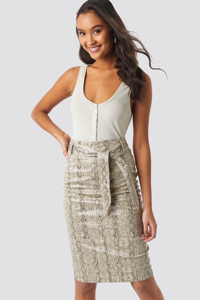 Snake Belted Snake Skin Skirt