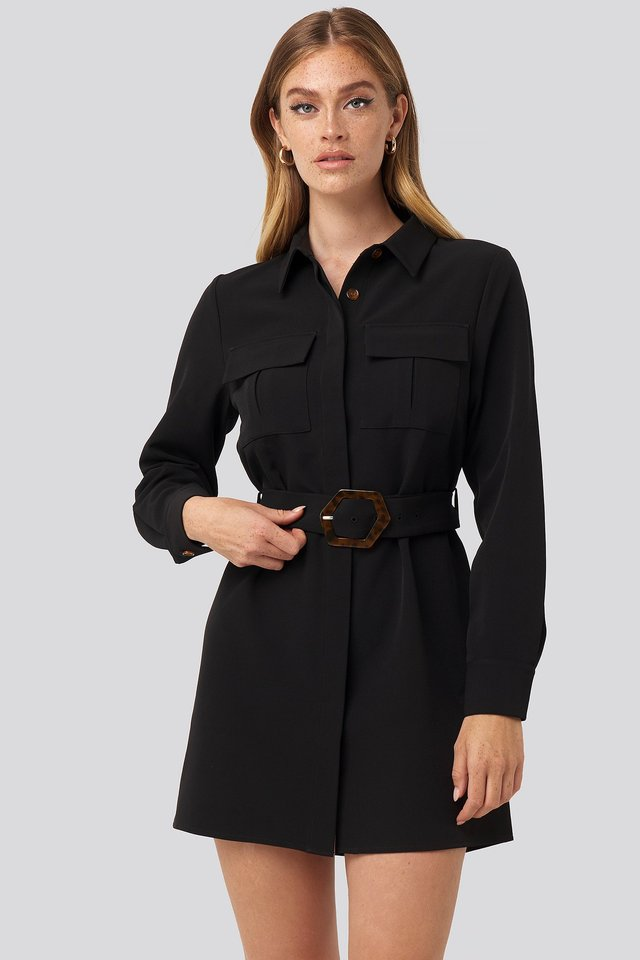 Belted Straight Fit Shirt Dress Black
