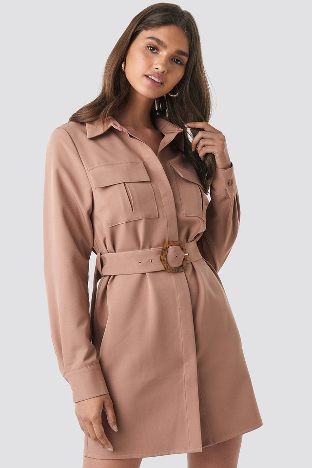 Belted Straight Fit Shirt Dress Dusty Dark Pink