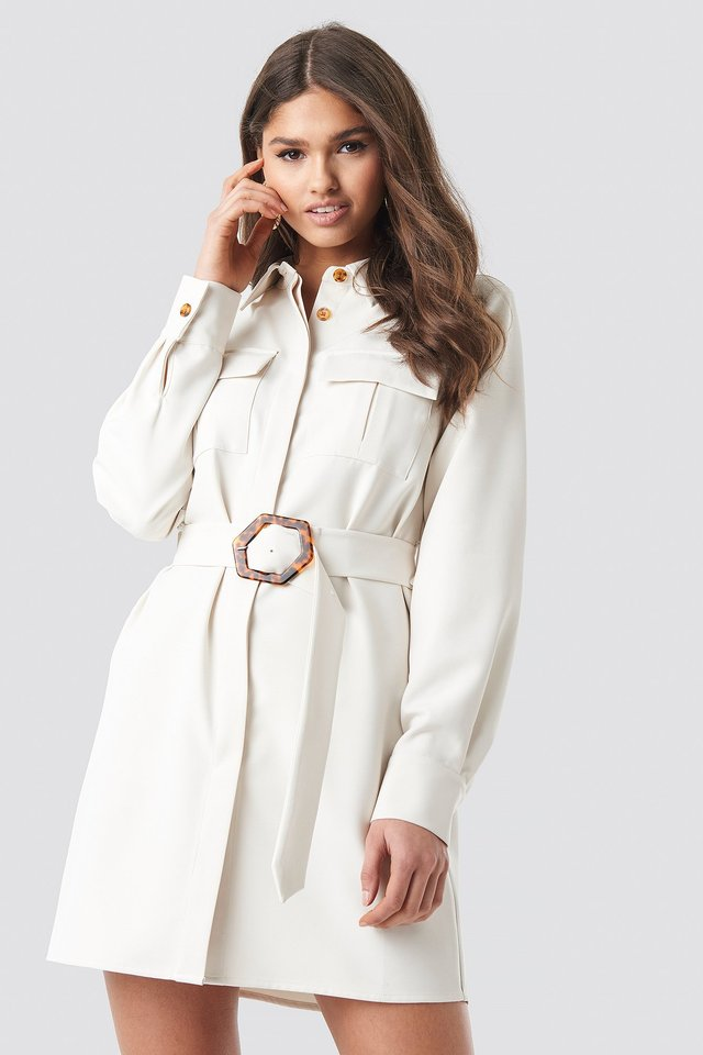 Cream Belted Straight Fit Shirt Dress