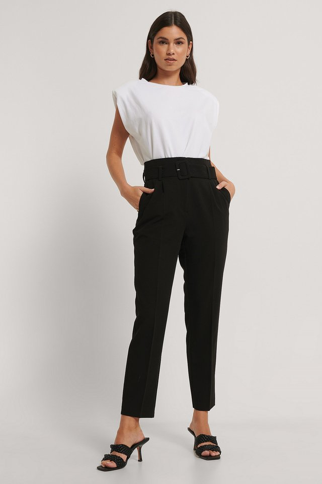 Belted Straight Leg Suit Pants Black