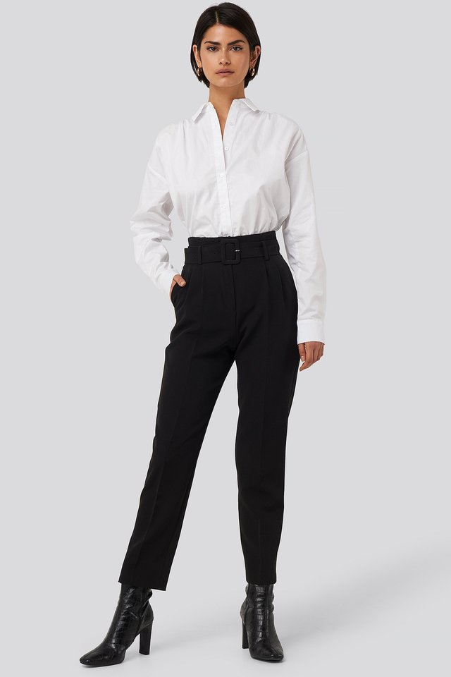 Belted Suit Pants Black