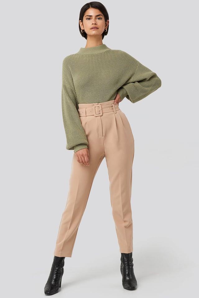 Beige Belted Suit Pants