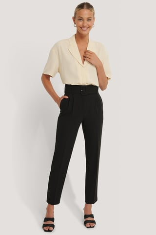 Black Recycled Belted Suit Pants