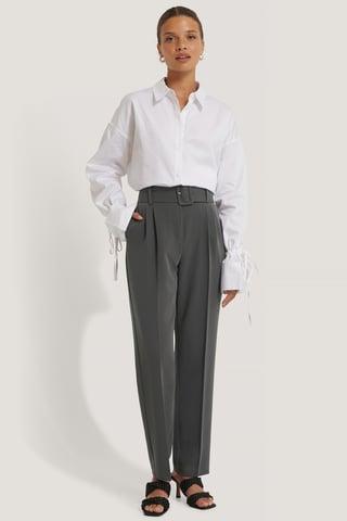Dark Grey Recyklingowane Przepasane Spodnie Do Żakietu