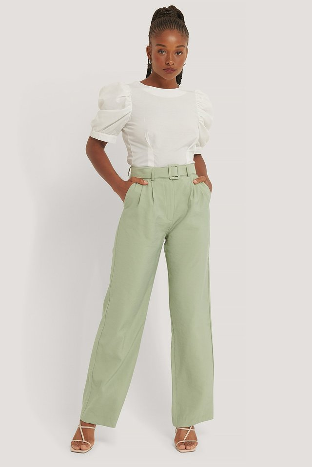 Belted Suit Pants Green