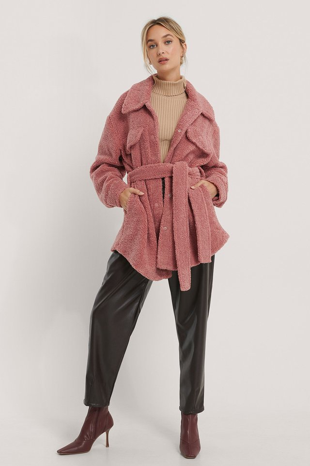 Belted Teddy Jacket Dusty Pink