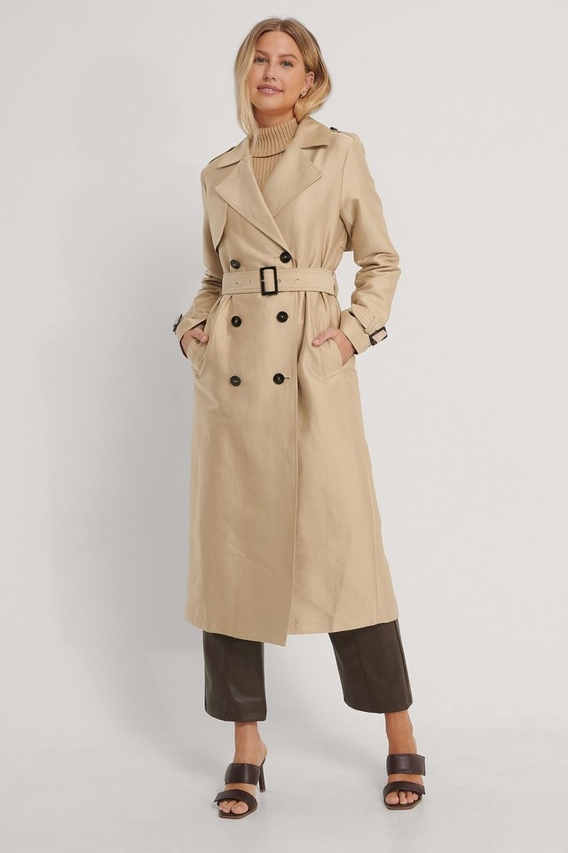 Belted Trench Coat Beige