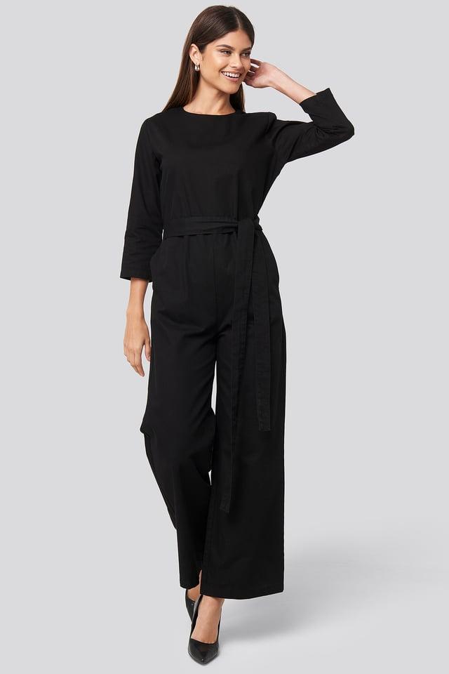 Belted Waist Detail Jumpsuit Deep Black