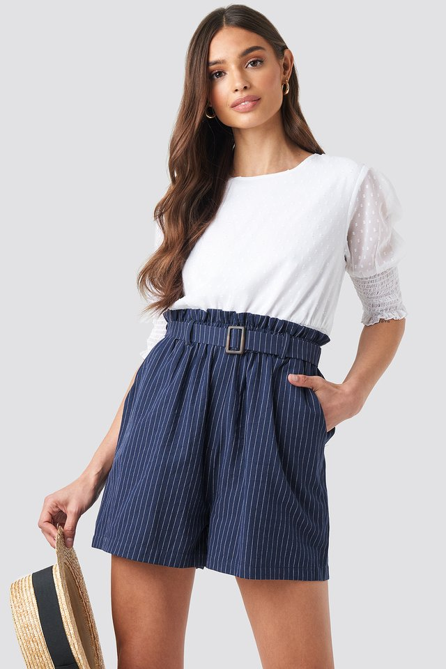 Belted Waist Striped Shorts Dark Blue