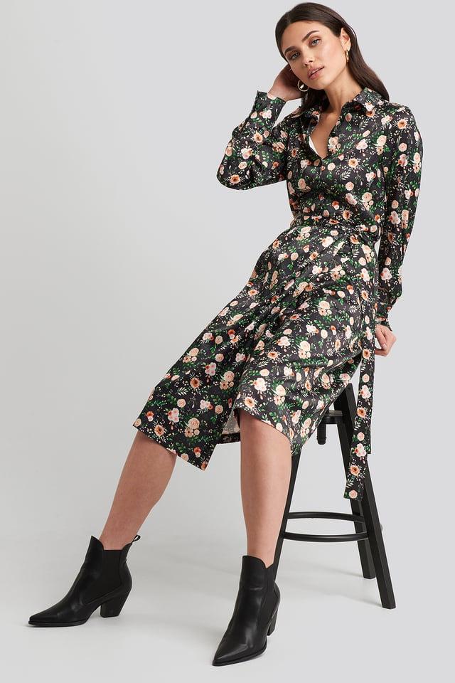 Belted Wrap Midi Dress Floral Print