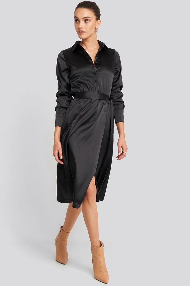 Belted Wrap Midi Dress Deep Black