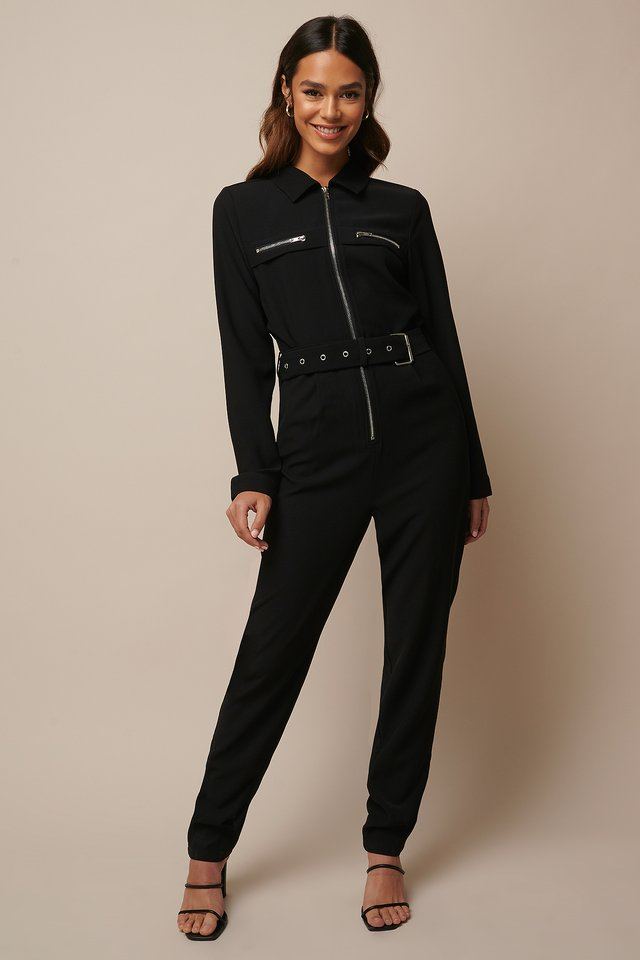 Belted Zip Detail Jumpsuit Black