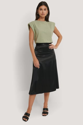 Black Bias Cut Satin Midi Skirt