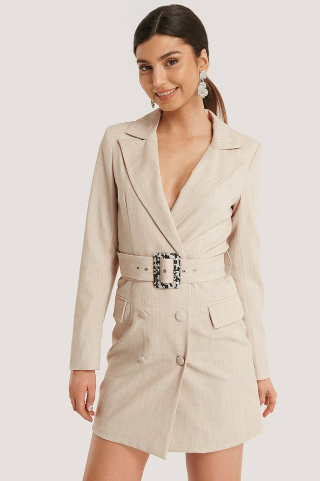 Big Belted Blazer Dress Beige