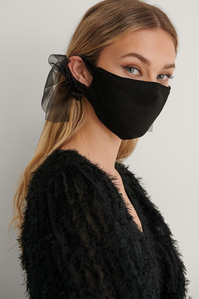 Black Big Bow Face Mask